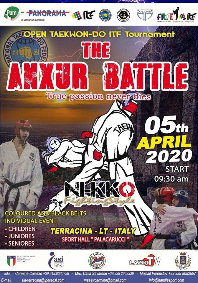 THE ANXUR BATTLE<br> OPEN TAEKWON-DO ITF<br> TERRACINA (LT), 05/04/2020