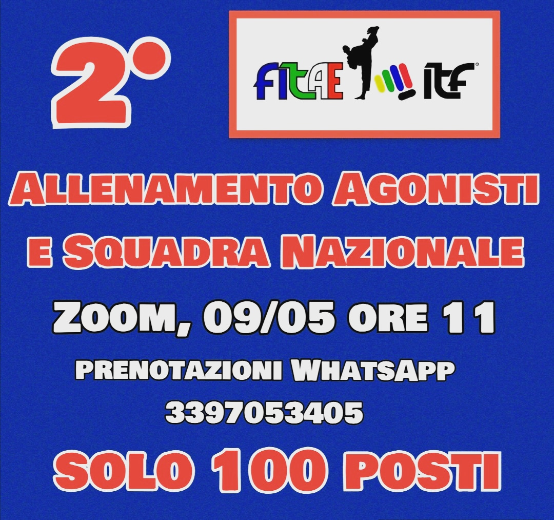 2° ALLENAMENTO ONLINE<BR> AGONISTI E SQUADRA NAZIONALE<BR> PIATTAFORMA ZOOM, 09/05/2020