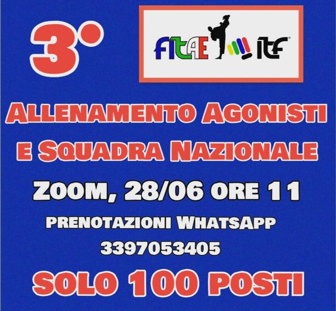 3° ALLENAMENTO ONLINE<br> AGONISTI E SQUADRA NAZIONALE<br> Zoom, 28/06/2020