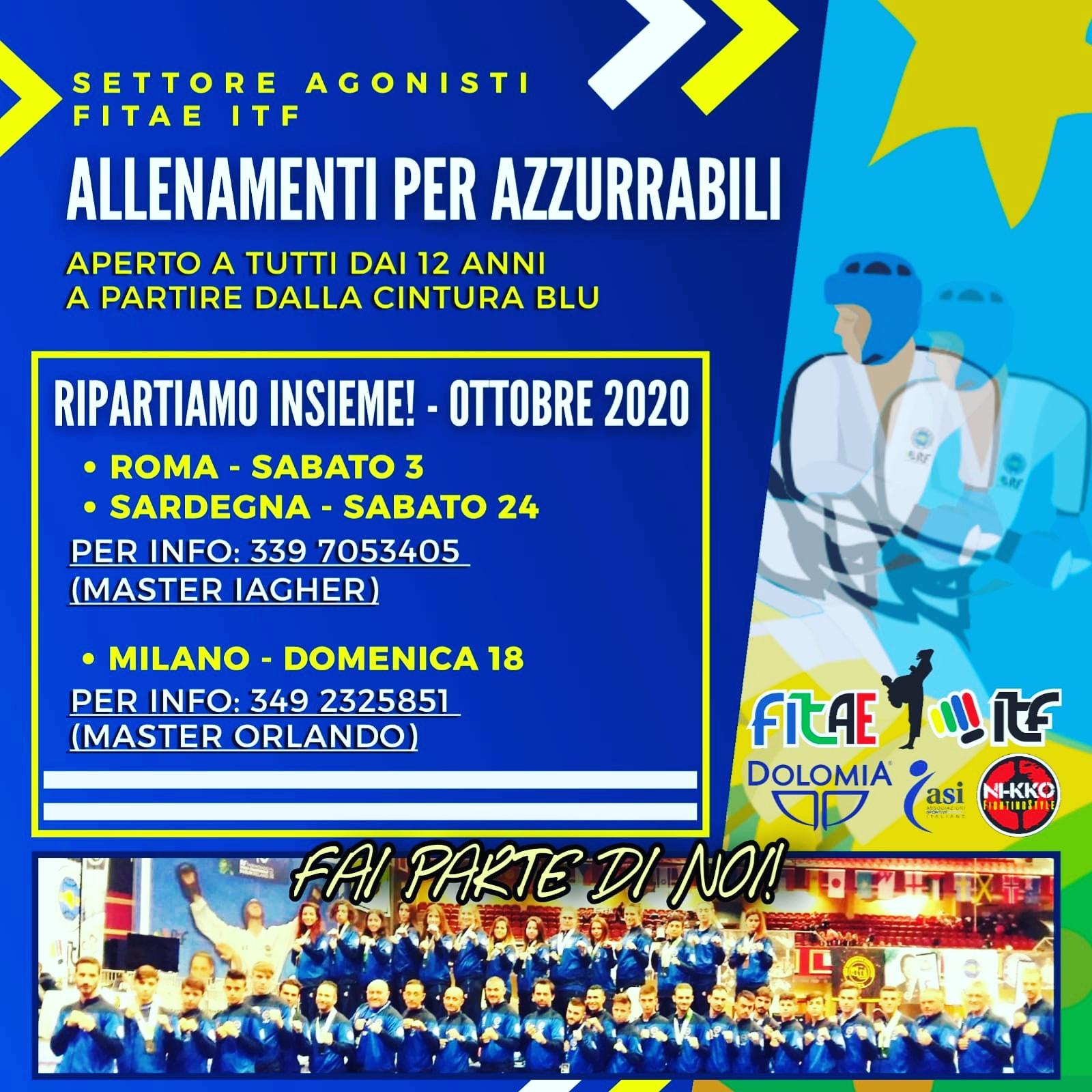 ALLENAMENTI PER AZZURRABILI<BR> CANCELLATI<BR> 3-18-24/10/2020