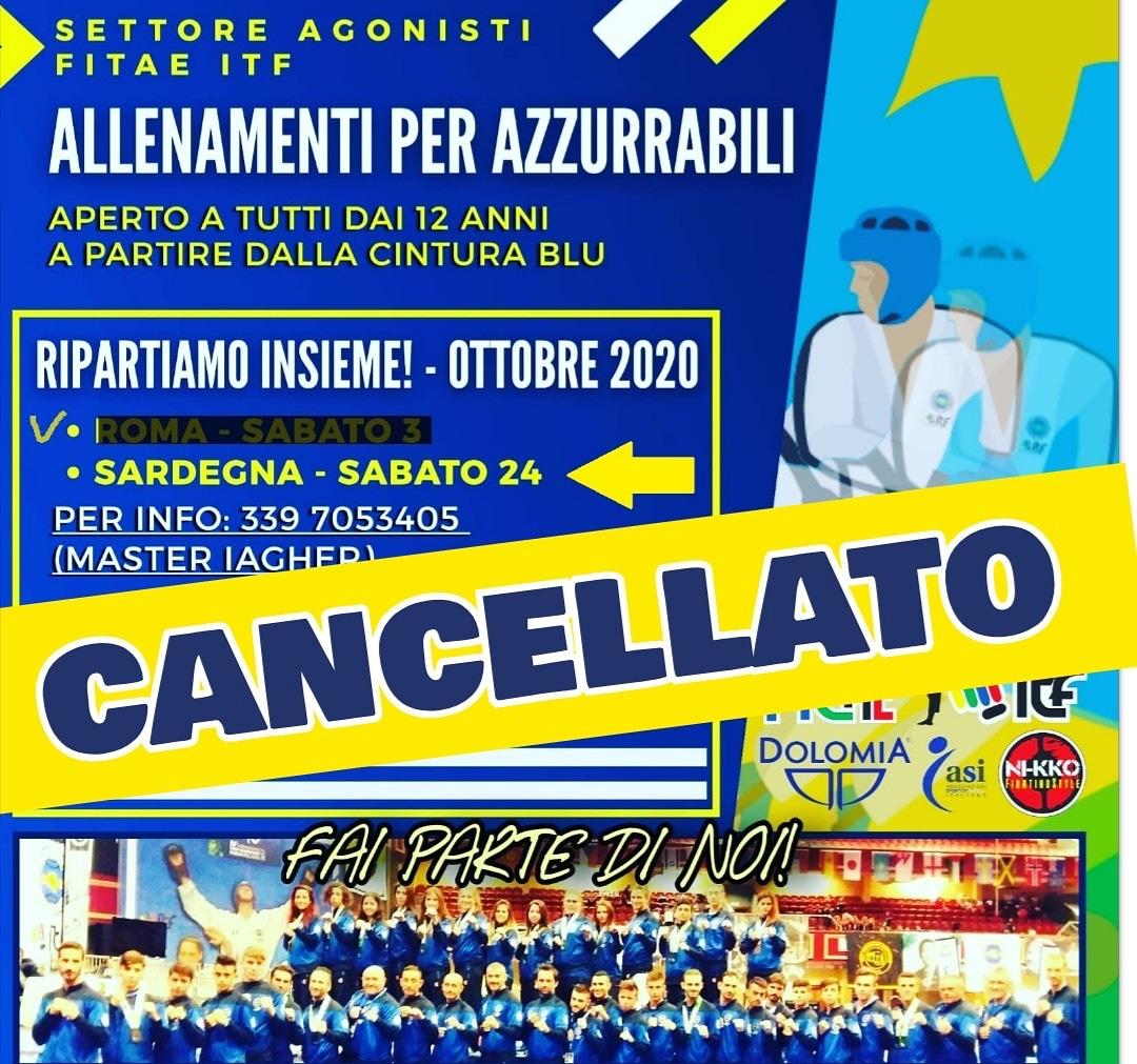 3° ALLENAMENTO AZZURRABILI<BR> CANCELLATO <br> 24/10/2020