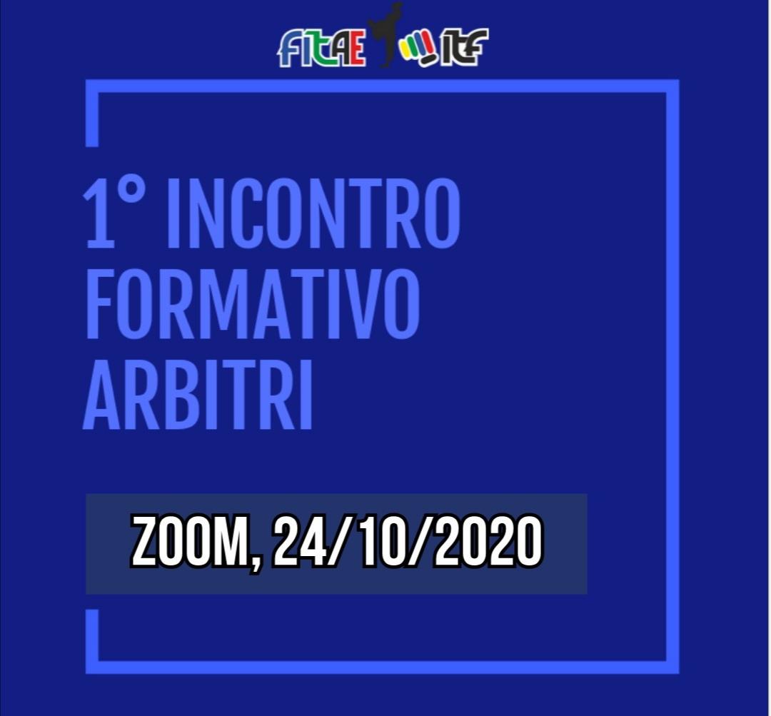 1° INCONTRO FORMATIVO ARBITRI<BR> ONLINE<BR> ZOOM, 24/10/2020