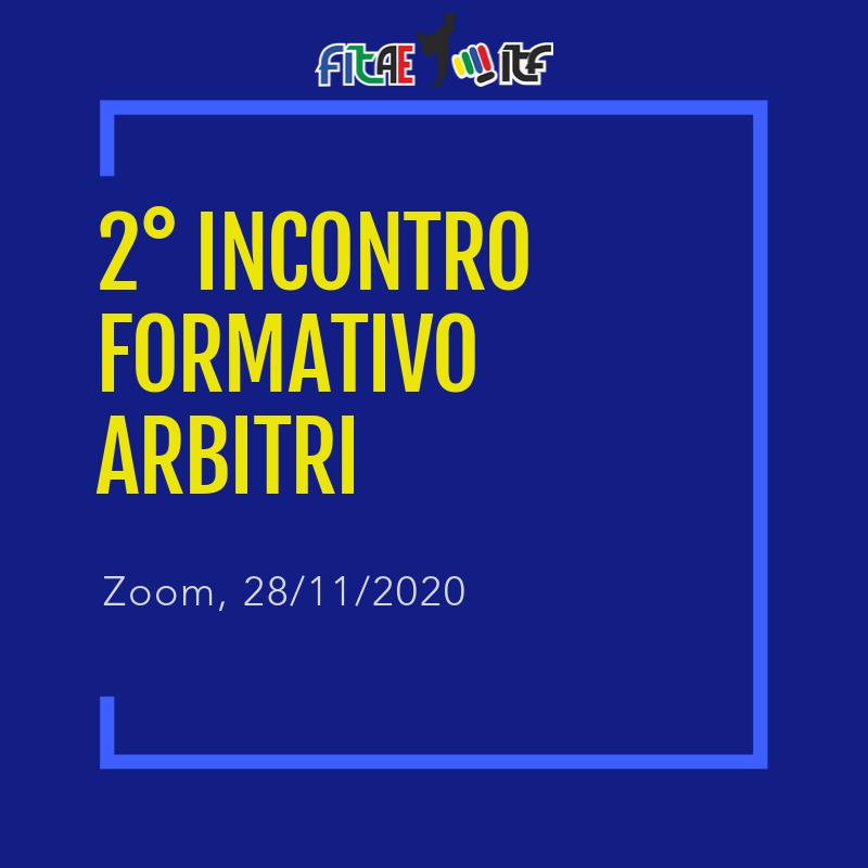 2° INCONTRO FORMATIVO ARBITRI<br> ONLINE<br> ZOOM, 28/11/2020