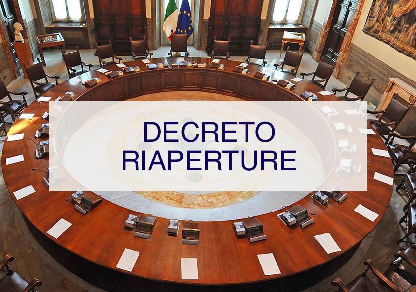 DECRETO RIAPERTURE<BR> CDM<br> 19/05/2021